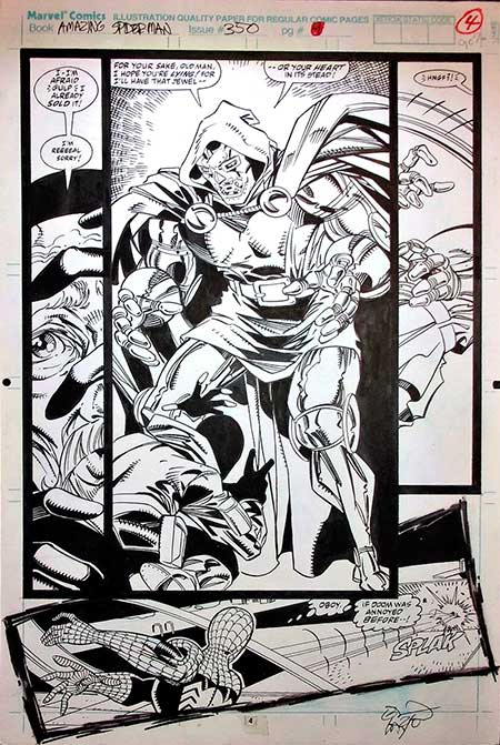 Spider-Man Versus Doctor Doom Original Comic Art by Erik Larsen