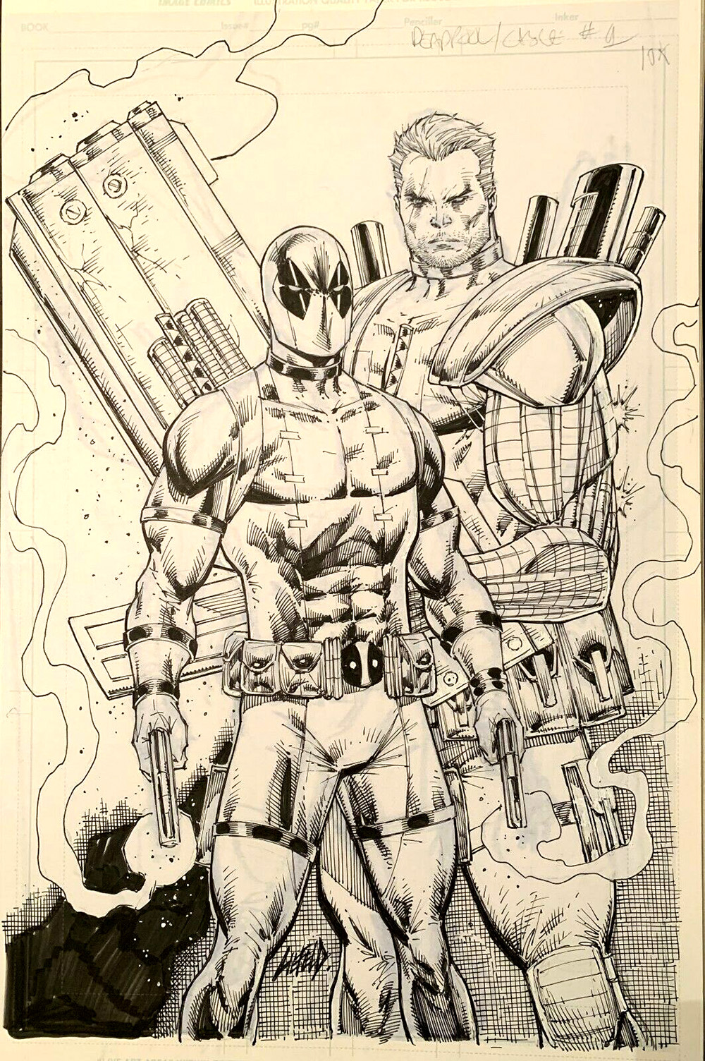 Rob-Liefeld-deadpool-cable-original-art
